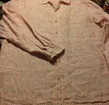Tommy Bahama long sleeved striped linen RELAX camp shirt.  Mens size XL