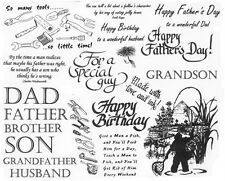 Unmounted Rubber Stamp Sheets, Men, Father, Fishing, Quotes, Sayings, Tools, Dad