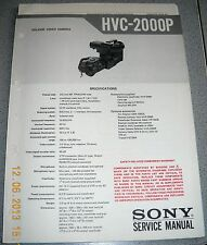 Sony hvc-2000p color video camera Service Manual Incl. div. werkst. info
