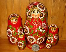 Russian Wood Matryoshka nesting doll 5 piece RED GOLD & DAISIES