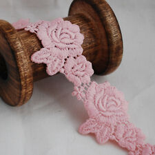 Guipure Lace Trim - Pearl Pink - Floral Rose Flower Leaf - 4cm Wide