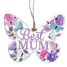 Gisela Graham Shabby Chic Wooden Best Mum Butterfly Sign Gift Mothers Day Saying