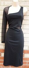 JANE NORMAN BLACK LONG SLEEVE MESH CUT OUT SEXY BODYCON PARTY TUBE DRESS 12 M