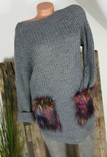 NEU KNIT WEAR ITALY GROBSTRICK LONG PULLI STRICK KLEID FELLTASCHEN GRAU 36-42