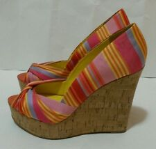Nine West Shoes Chillpill Platform Wedge Sandals Beach Stripe Pink Multi Sz 9M