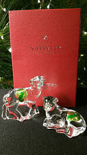 Waterford Crystal Sheep Lamb Pair Set Nativity Collection  MIB MINT in Box  Rare