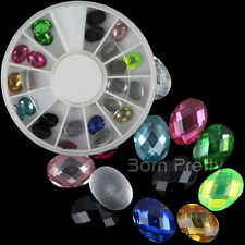 24Pcs/Box 3D Nail Art Studs Oval Grid Gems Crystals Rhinestone Beads Decoration