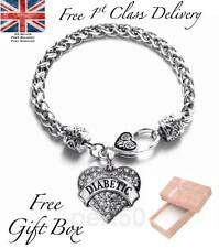High Quality Diabetic Alert Heart Charm Bracelet Medical Jewellery Birthday UK