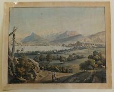Arnout vue de Genève lithographie originale 1817 XIXème siècle
