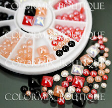 #R39 Nail Art Decoration Black White Red Coral Glitter Ceramic Rhinestones+Wheel