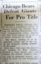 1933 newspaper CHICAGO BEARS defeat NY GIANTS 1st NFL Football CHAMPIONSHIP GAME