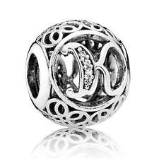New Authentic Pandora Charm 791855CZ Vintage Letter K Clear CZ Box Included