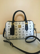 NWT MCM Heritage Visetos Boston White Medium Bag Style # MWB4SVI48WT001
