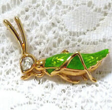 SWAROVSKI Swan Logo GP Green Enamel Clear Crystal Grasshopper Brooch/Pin  Y85^