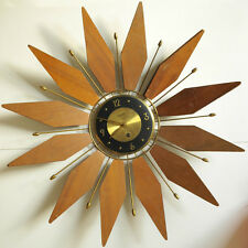 Vintage Forestville Star - Sunburst  Brass & wood Wall Clock Mechanical Wind up
