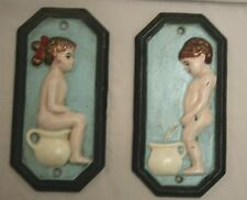 Unusual Iron    Eye-Catching Sign Set   Girls & Boys Rest Room    Hand Painted