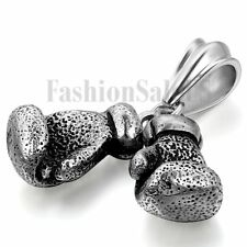 """Punk Mens Stainless Steel Charm Boxing Glove Pendant Necklace w/ Free Chain 22""""."""