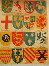 ANTIQUE PRINT 1926 HERALDRY SHIELD OF ARMS LE ROY DARRABE MYTHICAL SOVERIGNS