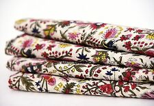 5 Yards Cotton Voile Hand Block Print Fabric Natural Dyes Sanganer Indian Throw