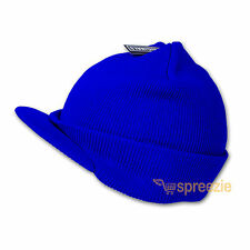 Royal Blue Beanie Visor Knitted Skull Cap Hat Color Wam Winter Ski Snow Headwear