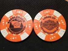 "Harley Davidson Poker Chip (Orange & White) ""Saddleback"" Logan,Utah"