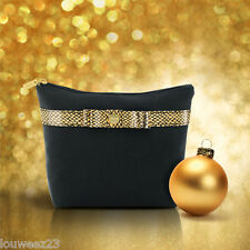 Avon Makeup Cosmetics Bag - Chic Bag - Black with Gold Trim