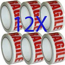 12 X 48mm X 66m FRAGILE PRINTED STRONG PARCEL FRAGILE TAPE PACKAGING BIG ROLLS