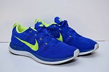 Nike Men's Flyknit Lunar 1 Blue Volt Running Shoes sz 11 # 554887-474