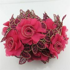1 Meter Embroidery 80mm Width Lace Leaf Rose Flower Trim Chiffon Applique Sewing