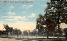RACINE WISCONSIN TENNIS COURTS AT COUNTRY CLUB POSTCARD c1911