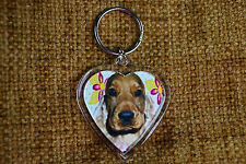 Cocker Spaniel Dog Keyring Dog Key Ring heart shaped Birthday Gift