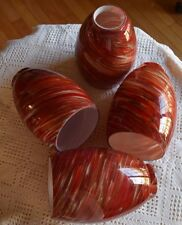 4 Red Swirl Light Lamp Shades Globes Sconces Blown Glass