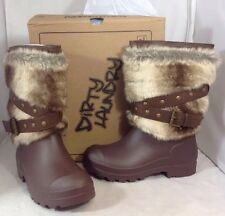 NEW DIRTY LAUNDRY Brown Faux Fur Winter Boots Slip On Leather Strap Shoes Size 7