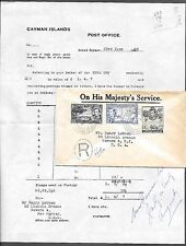 OHMS GB Colonies Cayman Island BWI Antilles Registered Vtg 1950 Cover Stamps