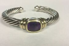 Stunning David Yurman Silver + 14kt Yellow Gold Cuff Bangle Amethyst Bracelet
