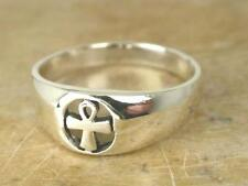 STUNNING STERLING SILVER HIGH POLISH ANKH RING size 7  style# r0455