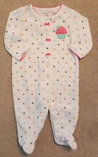ADORABLE! CARTER'S 3 MONTH CUPCAKE TERRY CLOTH FOOTED SLEEP N PLAY OUTFIT