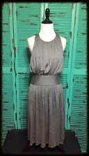 Banana Republic Grey Pleated Crew Halter Keyhole Back Empire Waist Dress 4 NWOT