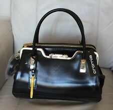 Cromia Made In Italy Black Shiny Leather Satchel Shoulder  X-body NWT