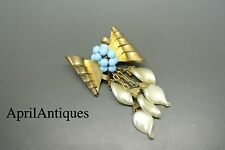 Vintage French Louis Rousselet Faux Pearl Turquois Poured Glass dangle Brooch
