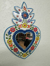 Hand Painted Tin Heart Mirror #5--Mexican Folk Art--Colorful-Flowers-10x15 in.