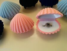 Pink Shell Velvet Jewellery Cuffllinks Earring Ring Gift Presentation Box
