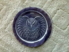 1971 Lalique Hibou Owl Collector Plate Art Glass - Rare Signed Collectible