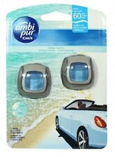 2 x 2ml Ambi Pur Car Air Freshener Vent Clip On Diffuser & Refill - Ocean Breeze