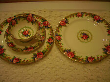 "Paragon Bone China Four Piece Tea Cup & Saucer & Plates ""Tapestry Rose"" EXC"