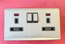 HIGH Quality Chrome UK 13A 2Gang Electric Wall Plug Socket With Switches SALE!