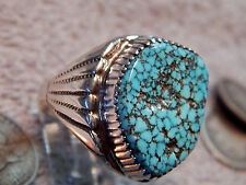 Mens Black Spiderweb Turquoise Sterling Ring Navajo Lorenzo James size 13