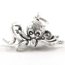 3D OCTOPUS Sea life Nautical Ocean animal Charm Pendant 925 STERLING SILVER