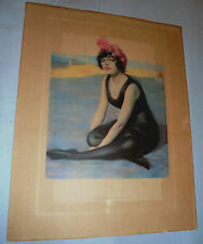 """Lady, Pink Hat, Beach """"A Chicken Sand-Witch"""" Leslie-Judge Co. Large Print 1920's"""