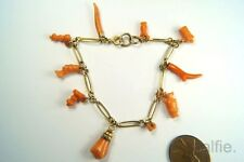ANTIQUE 9K GOLD CHARM BRACELET CARVED CORAL CHARMS / AMULETS HAND etc c1800's
